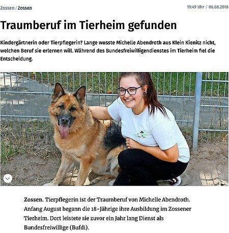 06. August 2018   Märkische Allgemeine   Traumberuf im Tierheim gefunden