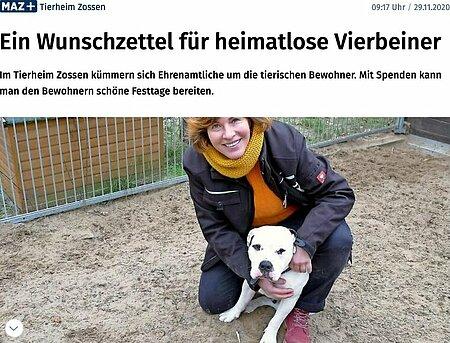 29. November 2020   Märkische Allgemeine   Ein Wunschzettel für heimatlose Vierbeiner