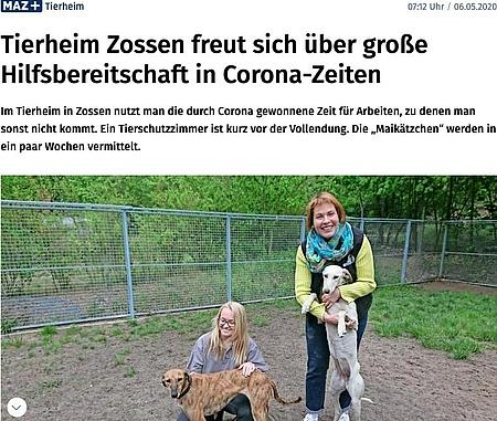 06.05.2020 | Märkische Allgemeine | Tierheim Zossen freut sich über große Hilfsbereitschaft in Corona-Zeiten