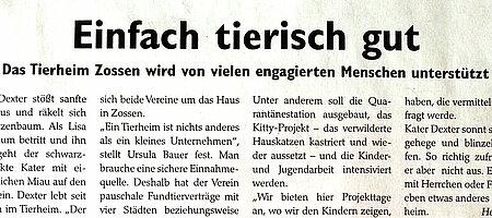 """Wochenspiegel Zossen   30. März 2016   """"Einfach tierisch gut"""""""