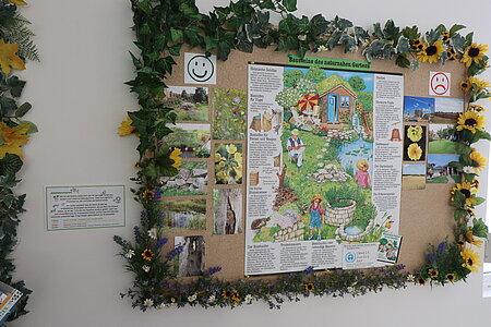 Wandtafel zum Thema tierfreundlicher Garten im aktion tier Tierheim Zossen