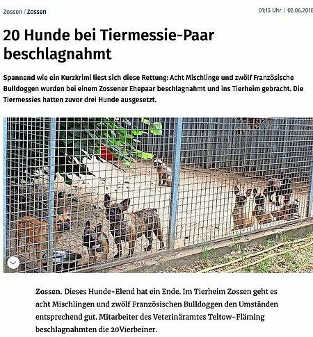 02. Juni 2018   Märkische Allgemeine   20 Hunde bei Tiermessie-Paar beschlagnahmt