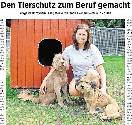 11. Oktober 2017   Wochenspiegel Zossen   Den Tierschutz zum Beruf gemacht
