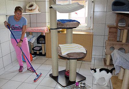 Bärbel beim Reinigen eines Katzenzimmers