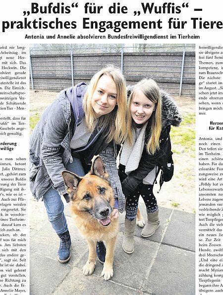 """04. März 2017   Wochenspiegel Zossen – """"Bufdis"""" für die """"Wuffies""""   Praktisches Engagement für Tiere"""